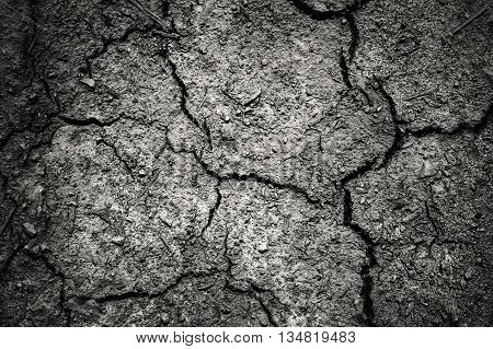 Dark dramatic of cracked soil with vignetting, sad feeling