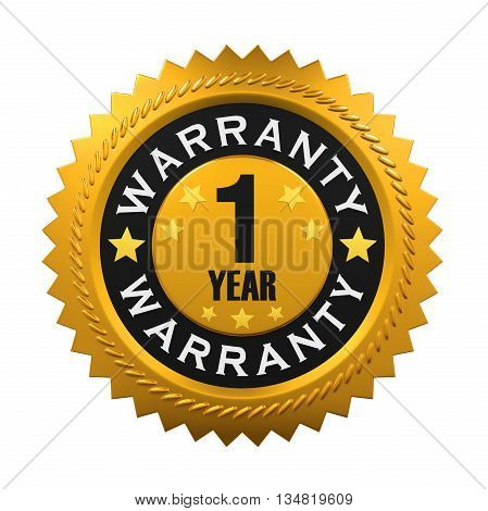 1 Year Warranty Sign isolated on white background. 3D render