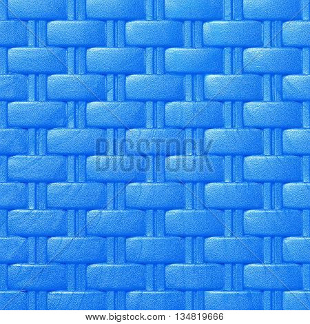 Plastic weave pattern texture and background; blue color