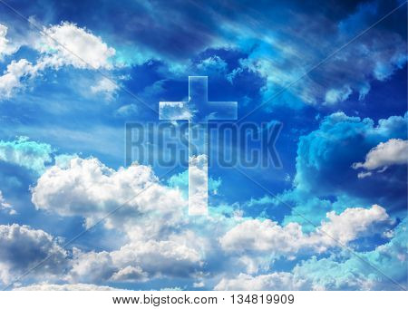Crucifix Or Cross Form Shining On Puffy Clouds Blue Sky, Heaven And God, Crucifix Background