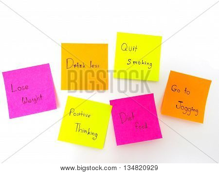Post it note for healthy on white background
