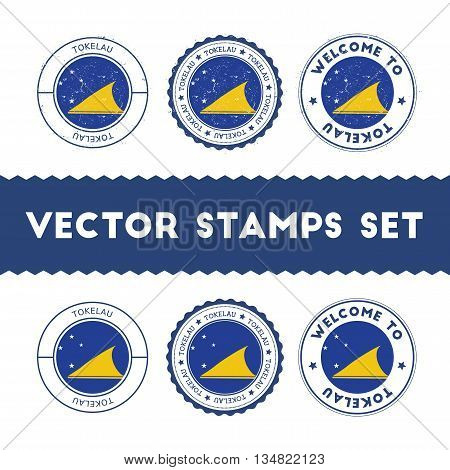 Tokelauan Flag Rubber Stamps Set. National Flags Grunge Stamps. Country Round Badges Collection.