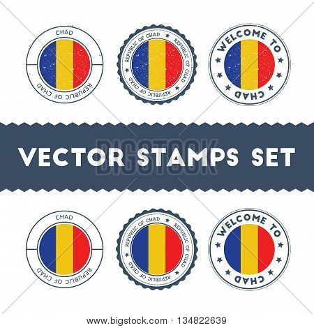 Chadian Flag Rubber Stamps Set. National Flags Grunge Stamps. Country Round Badges Collection.