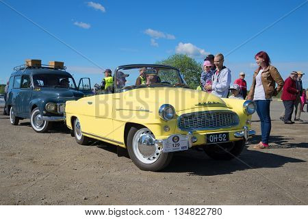 KERIMAKI, FINLAND - JUNE 06, 2015: Skoda Felicia cabrio on the parade of vintage cars in the area of South Savo