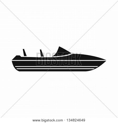 Little powerboat icon in simple style isolated on white background. Sea transport symbol