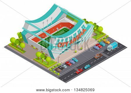 City sport center arena stadium with parking lot and traffic outside  isometric composition poster abstract vector illustration