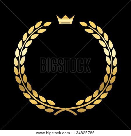 Gold laurel wreath with crown. Golden leaf emblem. Vintage design isolated on black background. Decoration for insignia banner award. Symbol of triumph sport victory trophy. Vector illustration.