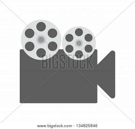 Movie and Cinema represented by classic videocamera icon over flat and isolated background