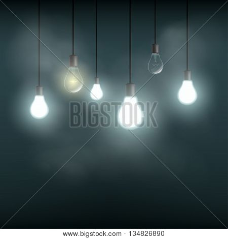 Light bulbs hanging on wires. Stock vector illustration.