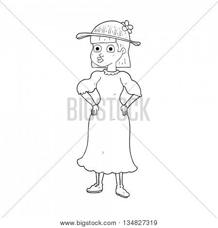freehand drawn black and white cartoon woman in sensible dress