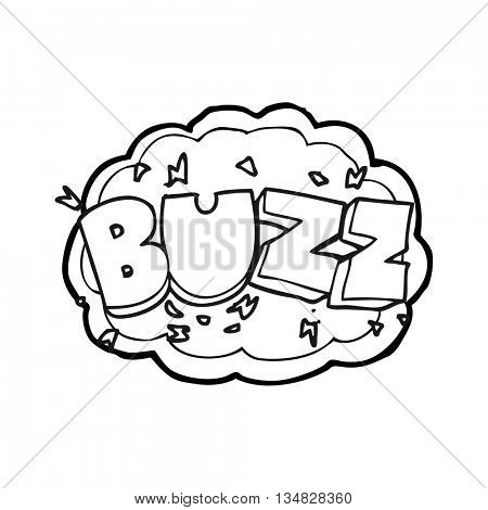 freehand drawn black and white cartoon buzz symbol