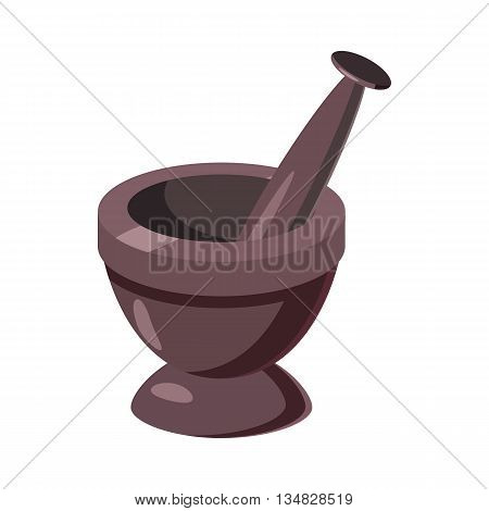 Mortar and pestle icon in cartoon style on a white background