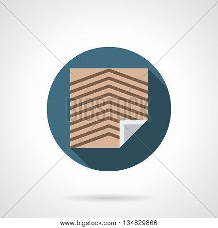 Brown linoleum sheet with slanting stripes. Floor covering for office and other commercial spaces. Construction and renovation services. Round flat color style vector icon.