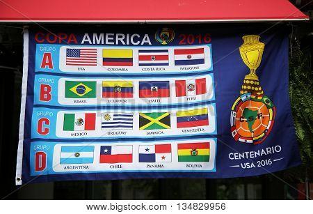 NEW YORK - JUNE 16, 2016: Banner with Copa America Centenario 2016 team groups  in New York City
