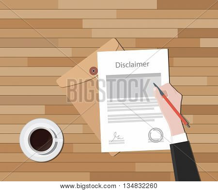 disclaimer document hand sign a paper with stamp vector graphic illustration