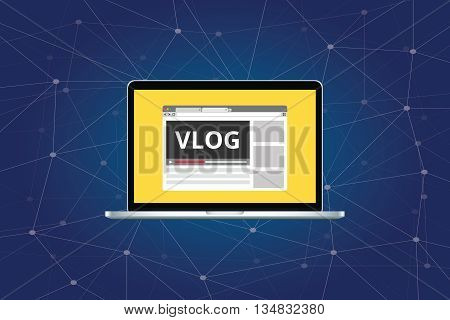 vlog video blog on laptop with video player vector graphic illustration