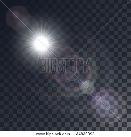 Vector white sun with light effects. Rays hotspots on transparent like background. Colorful glints and flares.