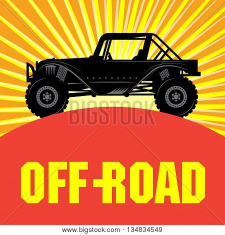 Off-road vehicle abstract color background, vector illustration
