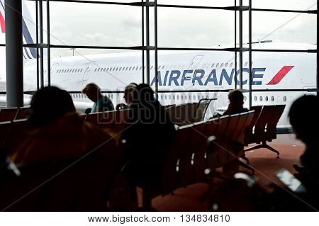PARIS FRANCE - JUNE 11: Huge A380 Airbus airplane is seen on Charles de Gaulle International Airport on June 11 2016 in Paris. Air France announced a pilot strike between 11 and 14 of June.