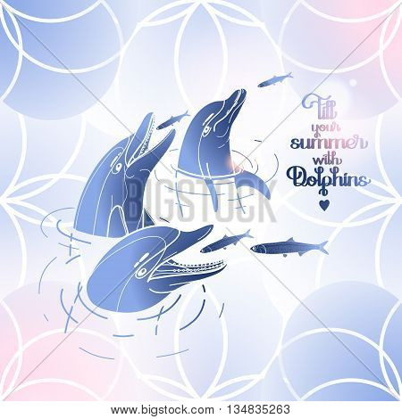Graphic feeding dolphins. Dolphins in the water catching fish. Summer mood. Vector art isolated on fantasy background. Sea and ocean vector creatures in blue and pink colors
