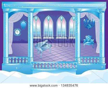 Vector illustration of fairytale interior of ice palace ballroom