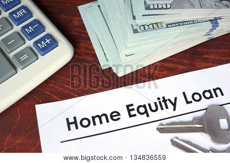 Home equity loan written on a paper. Financial concept.