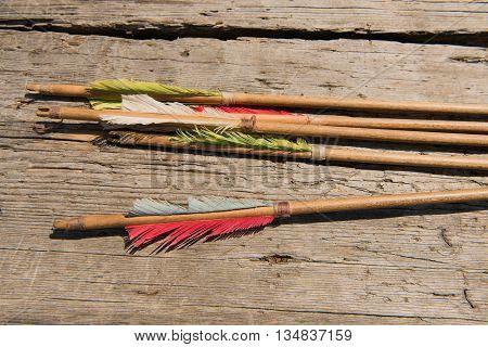 Bow Arrows Historic Desk Sunny Day