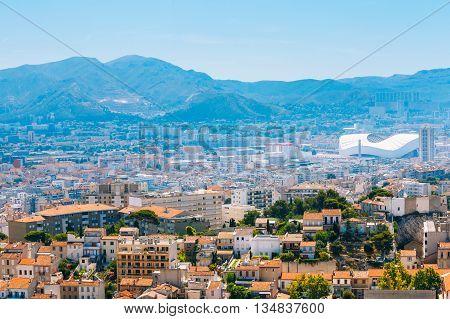Marseille, France  - June 30, 2015: Urban View Cityscape Of Marseille France. Sport Velodrome Stadium