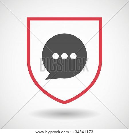 Isolated Line Art Shield Icon With A Comic Balloon