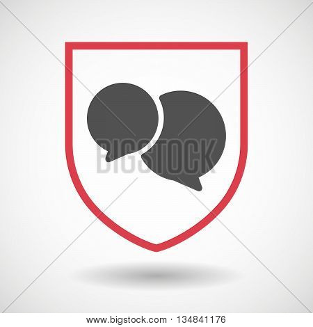 Isolated Line Art Shield Icon With  Comic Balloons