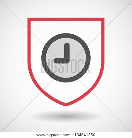 Isolated Line Art Shield Icon With A Clock