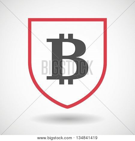 Isolated Line Art Shield Icon With A Bit Coin Sign