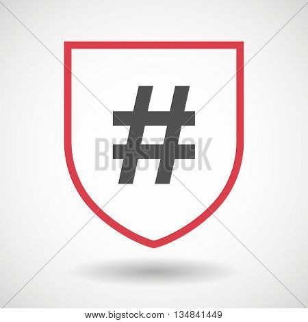 Isolated Line Art Shield Icon With A Hash Tag