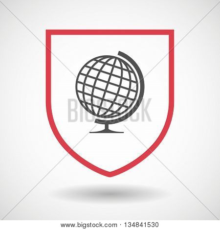 Isolated Line Art Shield Icon With  A Table World Globe