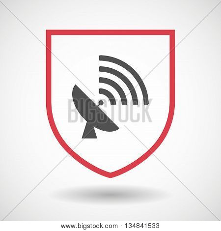 Isolated Line Art Shield Icon With A Satellite Dish