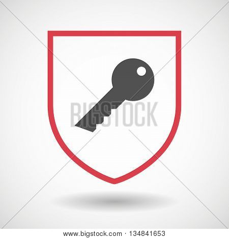 Isolated Line Art Shield Icon With A Key