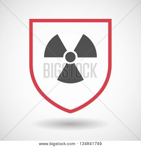 Isolated Line Art Shield Icon With A Radio Activity Sign