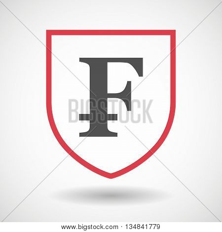 Isolated Line Art Shield Icon With A Swiss Franc Sign