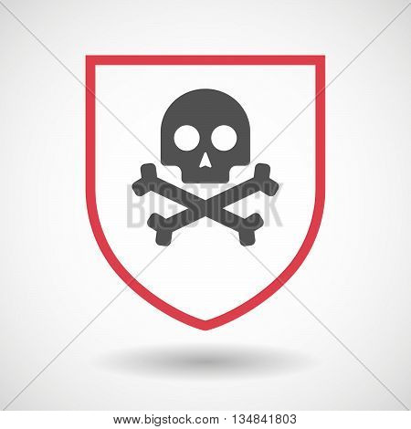 Isolated Line Art Shield Icon With A Skull