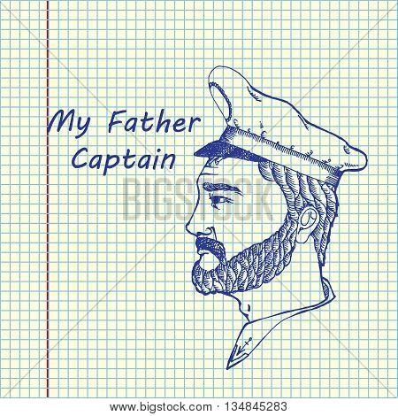 Ship captain profession. Hand drawn vector stock illustration. Sheep ballpen drawing