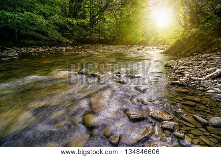 river with stones on the shore in the forest near the mountain slope. long exposure shot. in evening light