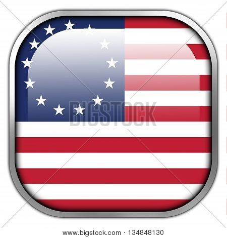 Betsy Ross Flag square glossy button. Isolated on white