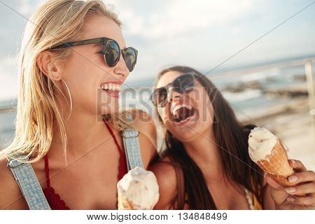 Best Friends Together Outdoors With Ice Cream