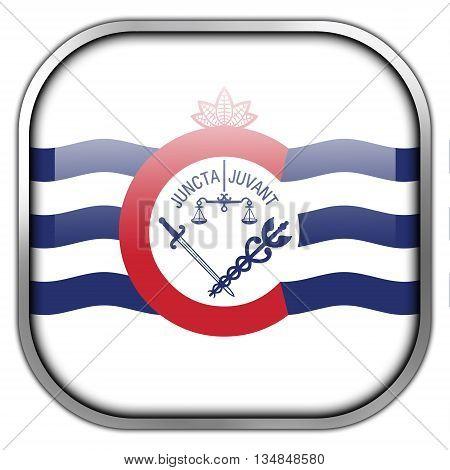 Flag Of Cincinnati, Ohio, Square Glossy Button