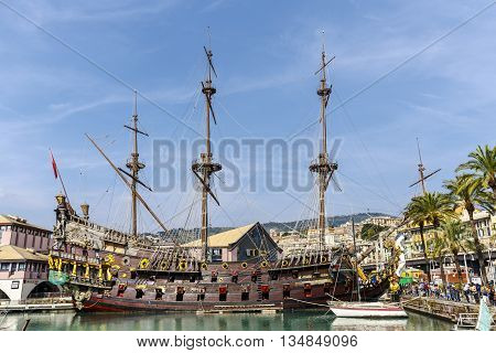 Genova Italy - September 27 2015: Figurehead of Galleon Neptune a replica of a 17th-century Spanish galleon. The ship was built in 1985 for Roman Polanski's film Pirates