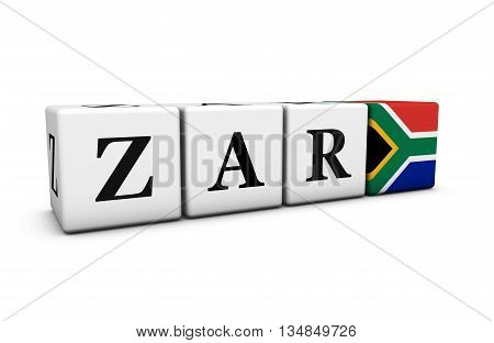 South Africa rand currency exchange market and financial concept with zar code sign and the South African flag on cubes 3D illustration on white background.
