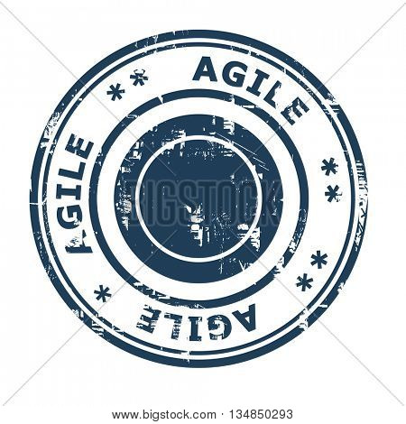 Agile business concept stamp isolated on a white background.