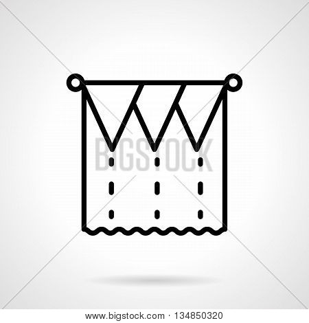 Draped curtains. Unusual decoration for theater, concert scenes, cinema and circus shows. Textile elements of commercial and home interior. Simple black line style icons.