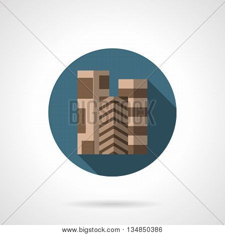 Three rolls of brown linoleum with different patterns, long shadow design. Choice of quality flooring. Store of building materials, interior decoration. Round flat color style vector icon.