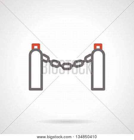 Chain on two pillars with red lights. Metal barrier for protection of constructions and private area, sidewalks and walkways. Restriction of access. Simple gray and red line icons.